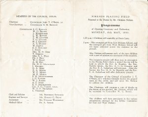 Programme for 1935 opening 2